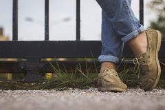 Shoes Leather Jeans Stock Image