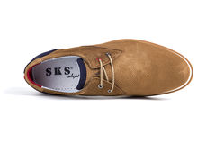 Shoes Leather New. Afife, Portugal - June, 2017: SKS Casual Shoes. SKS, Portuguese Shoes company. Isolated on White. Product shots Stock Image