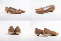 Shoes leather. On white background, isolated Product, Top View Stock Photography