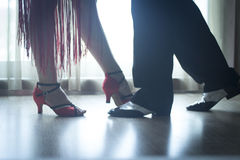 Shoes legs ballroom dance teaches dancers couple Royalty Free Stock Photos