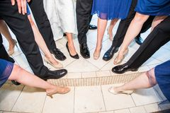 Shoes and legs. Feet, wedding, pointing royalty free stock image