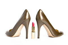 Shoes and lipstick Royalty Free Stock Image