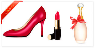Shoes, lipstick, perfume bottle with dis Royalty Free Stock Photo