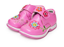 Shoes for little girl decorated with flowers Royalty Free Stock Images