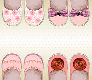 Shoes for little girls. Trendy fashion  shoes.  Fashionable Hand drawn illustration Stock Photo