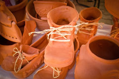 Shoes made ​​of clay Royalty Free Stock Image