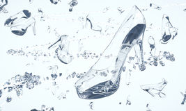 Shoes made of glass and diamonds floating in space Stock Photography