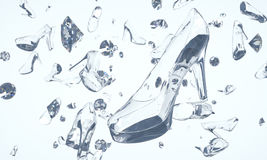 Shoes made of glass and diamonds floating in space Stock Photo