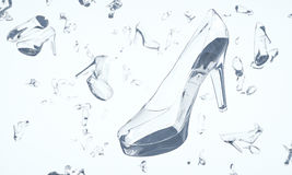 Shoes made of glass floating in space Stock Photography