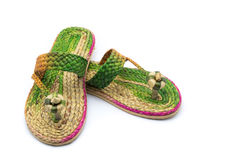 Shoes. Made of water hyacinth on a wooden,Sandals handmade Royalty Free Stock Image