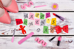Shoes and manicure set. Gift ideas for Women`s day royalty free stock image