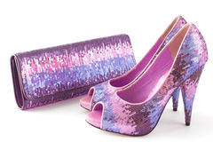 Shoes and matching bag,. Pair of pink shiny shoes and matching bag Royalty Free Stock Photography