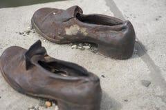 Shoes memorial - Danube promenade, Budapest Stock Photos