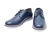 Shoes. Men's fashion shoes blue, casual design on a white background isolated Stock Images