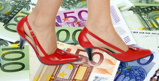 Shoes and money background Stock Photo