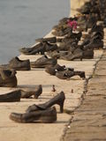 Shoes monument in Budapest. To the Jewish war victims Royalty Free Stock Image