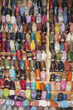 Shoes or Moroccan slippers. Of all colors in goat leather or camel, many Moroccans wear it. They are found in all markets and boutiques of the medina Stock Photo