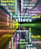 Shoes multilanguage wordcloud background concept glowing Royalty Free Stock Images