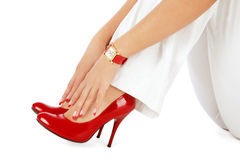 Shoes, nails, watch Stock Photos