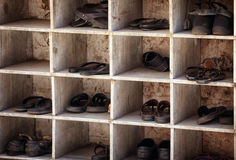 Shoes near entering the temple Royalty Free Stock Photography