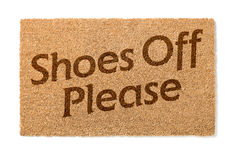 Shoes Off Welcome Mat On White Stock Images