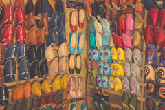 Shoes On A Shoe Stall On The Market In Essaouira, Morocco Royalty Free Stock Photo