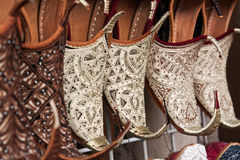 Shoes, oriental style. Shoes in arabian style, market of Dubai Royalty Free Stock Image
