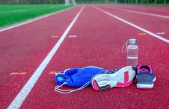 Typical athletic track royalty free stock photo