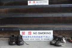 Shoes Outside Of A Buddhist Temple Royalty Free Stock Images
