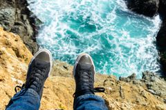 Shoes over Ocean stock images