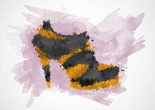 Shoes painted in watercolor Royalty Free Stock Image