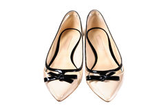 Shoes, Pair of beige female shoes Royalty Free Stock Photos
