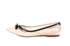 Shoes, Pair of beige female shoes Royalty Free Stock Image