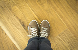 Shoes on Parquet Floor. Leather Shoes On Parquet Floor Royalty Free Stock Photo