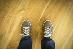 Shoes On Parquet Floor. Leather Shoes On Parquet Floor Royalty Free Stock Photos