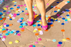 Shoes and party Royalty Free Stock Photography
