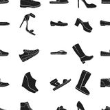 Shoes pattern icons in black style. Big collection of shoes vector symbol stock illustration Stock Photos