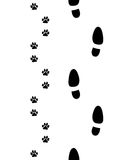 Shoes and paws. Prints of shoes and paws of dog,seamless wallpaper Stock Image