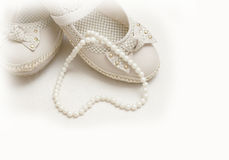 Shoes and pearls for wedding  Stock Photo
