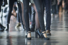 Shoes of people. Doing a line in a casting for a catwalk - Barcelona royalty free stock photo