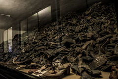 Shoes from people who were killed concentration camp Auschwitz Birkenau KZ Poland Royalty Free Stock Photos