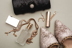 Shoes with perfume. Female accessories. Shoes with perfume Stock Image