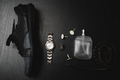 Shoes with perfume, watch and cuff. Men`s accessories.Shoes with perfume, watch and cuff Stock Images