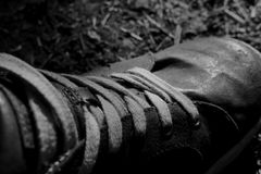 Shoes photographed black and white royalty free stock photography