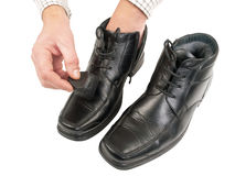 Shoes polishing Stock Photography