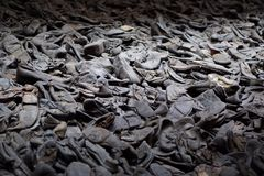 Shoes from prisoners at the Holocaust museum Royalty Free Stock Images
