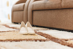 Shoes on Puffy Carpet. Elegant shoes on puffy carpet Stock Images