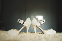 Shoes on Puffy Carpet. White shoes on puffy carpet at home Royalty Free Stock Photography