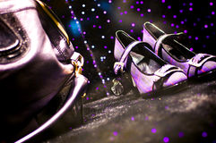 Shoes and purse on the ground Royalty Free Stock Photography