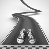 Shoes ready to start along a winding road. 3D Rendering. Shoes behind the starting line in a winding road on white background that rise up to reach the targets royalty free illustration